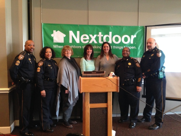 Harris County Sheriff's Office officials, local Nextdoor members, and Nextdoor Co-Founder Sarah Leary celebrate this new partnership.